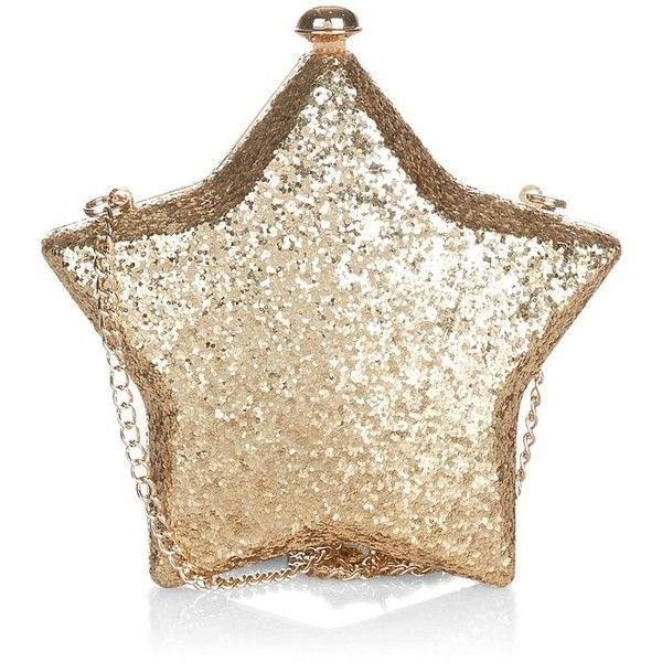 Gold Glitter Star Box Clutch ($30) ❤ liked on Polyvore featuring bags, handbags, clutches, star purse, glitter handbags, brown handbags, box clutch and chain strap handbag
