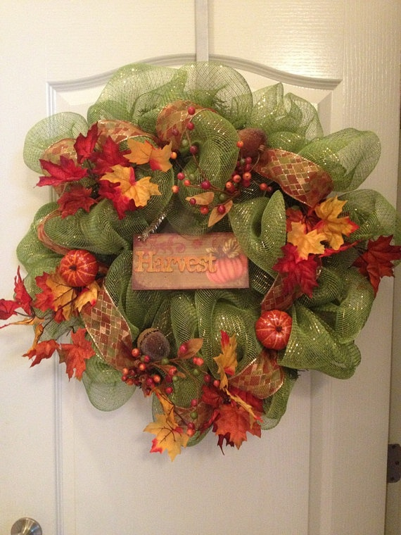 Thanksgiving Mesh Wreath Fall wreath Harvest by aydeebo on