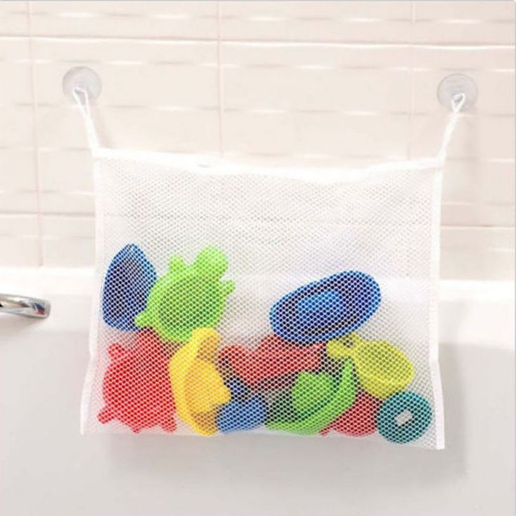 Eco-Friendly Toy Storage Folding Baby Bathroom Mesh Bath Bag Net Suction Cup Baskets