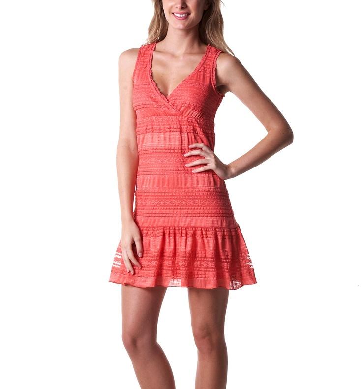 Vestido de encaje - Coral - Vestidos - Mujer - Promod