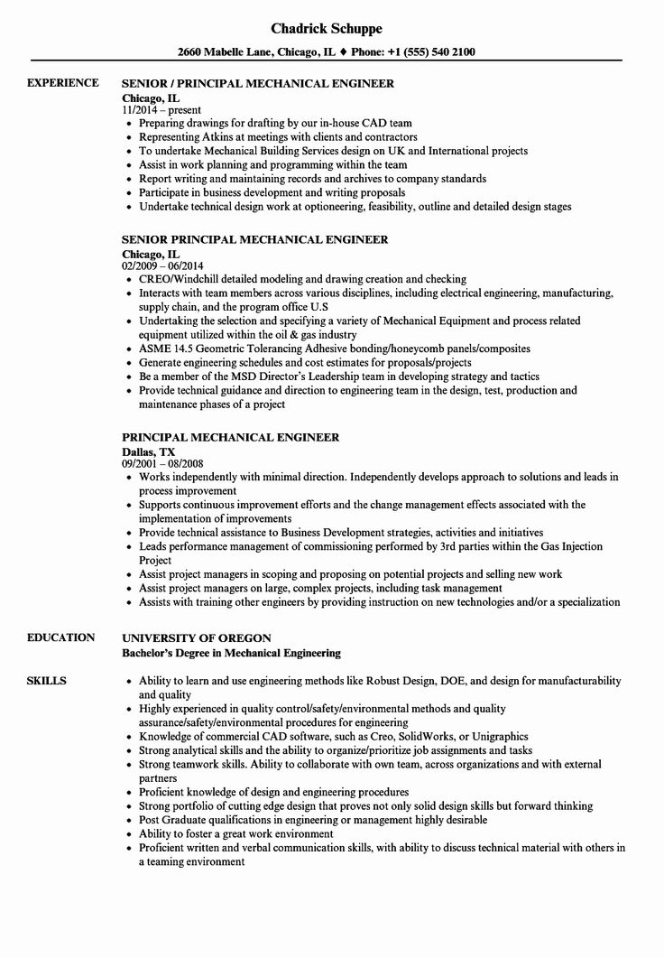 Experienced Mechanical Engineer Resume Unique Principal