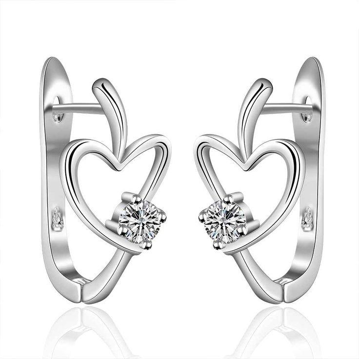 925 stamped silver plated Filled Horse Shoe Earrings heart U stud orecchini Elegant Brincos de Prata earrings fashion jewelry #Affiliate