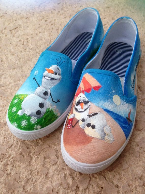 Disney Frozen Olaf Hand Painted Shoes by MadeByChristy on Etsy, $45.00.               These are so cute!!