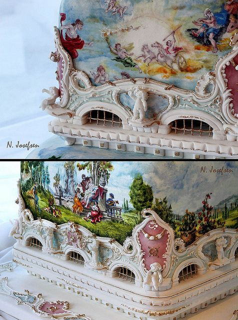 Rococo2 by Neli Josefsen (Nelka), via Flickr. Painted cake with sculpted details in French Renaissance style, very Marie Antoinette