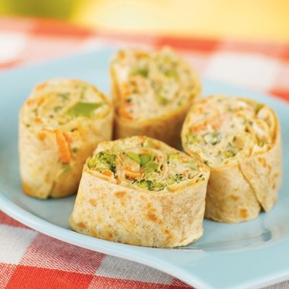 Veggie pinwheels- healthy kid-friendly snack!