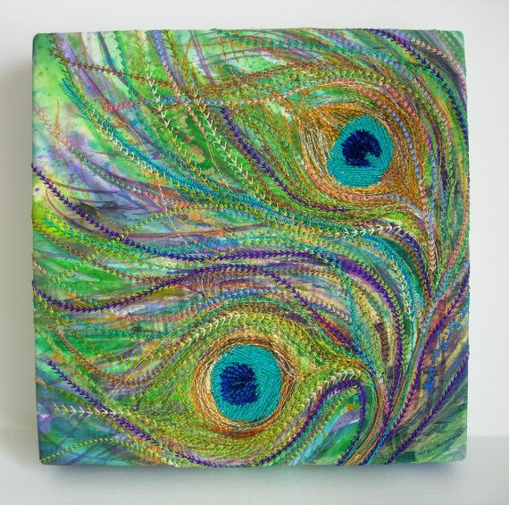 Peacock Feather Machine Embroidery Picture Canvas Textile Wall Art OOAK