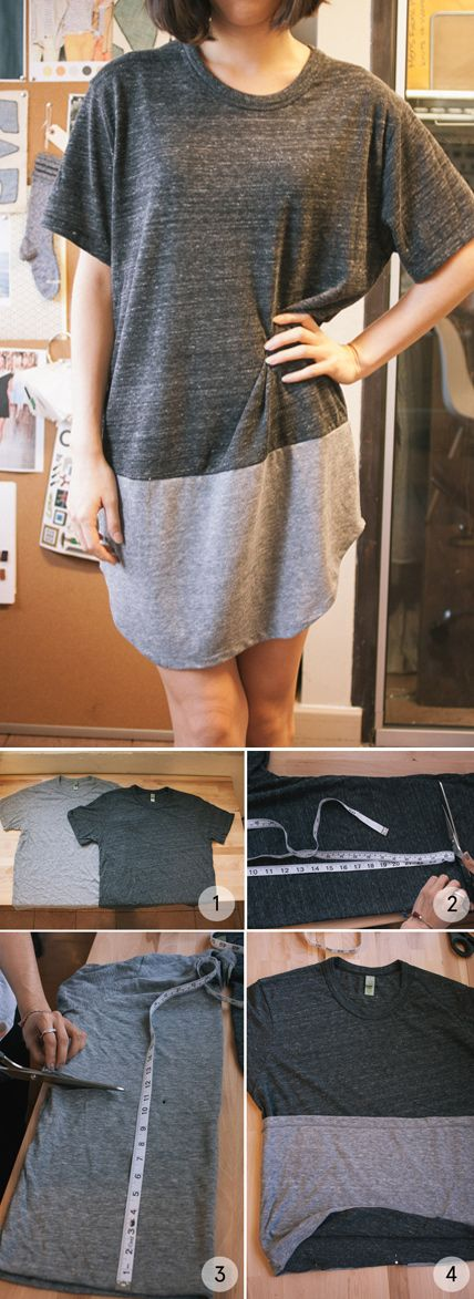 DIY Comfy T-shirt Dress. I'd change the neckline and sleeves to make it look less over-sized but this is exactly the skirt idea I'v been toying with.