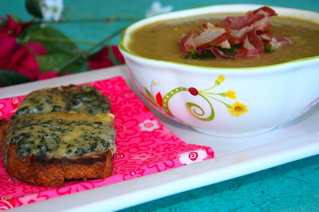 Sunburst squash and leek soup with oregano, yogurt & warm roquefort tartine