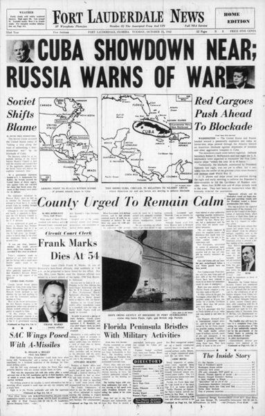 Cuban Missle Crisis - 50 years ago this month.  Thirteen days on the brink of WWIII.