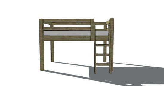 Free Woodworking Plans to Build a Low Loft Bunk Bed - www.thedesignconfidential.com