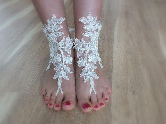 bridal anklet, beach shoes, bridal sandals, wedding bridal, barefoot sandles, ivory sandals, wedding shoes, summer wear, handmade