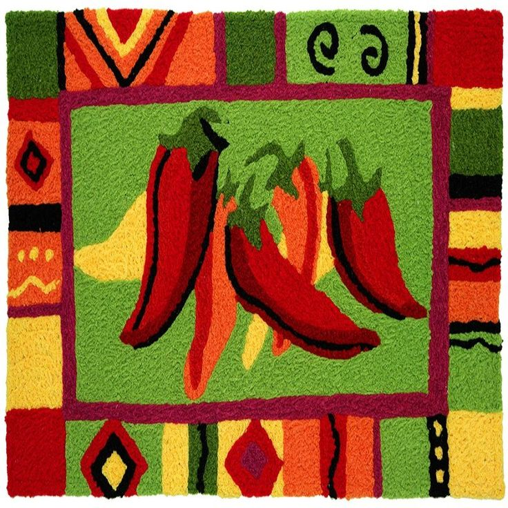 Colorful Mat With Red Chili Peppers Theme For Kitchen Decor Ideas Adding Extraordinary Pepper