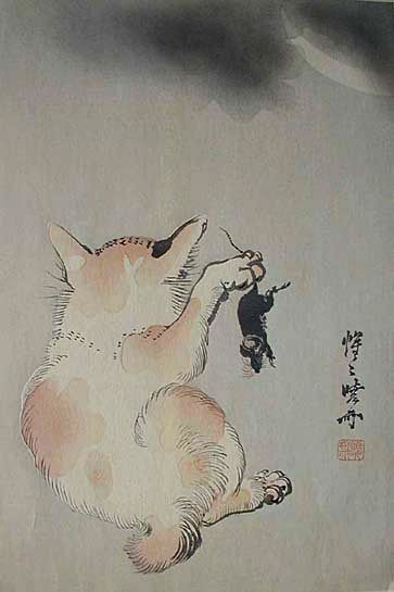 Kawanabe Kyosai / Cat and Mouse Beneath a Crescent Moon (May 18, 1831–April 26, 1889)