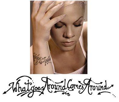 Pink - What Goes Around Comes Around Temporary Wrist Tattoo