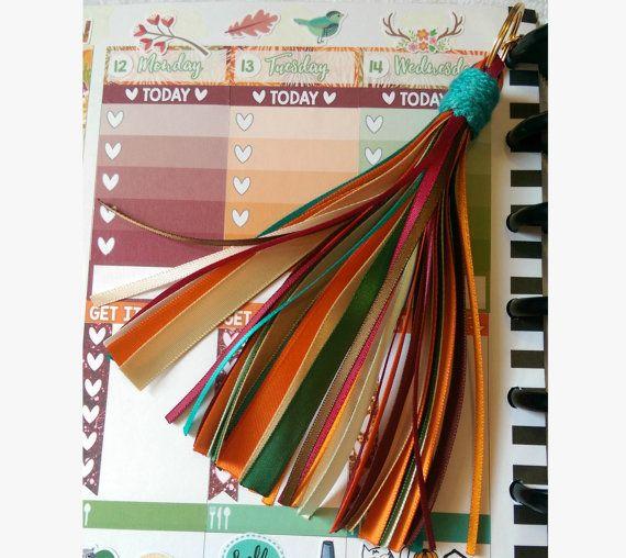 Autumn Wine, Orange, & Teal Tassel - Planner/Bookmark/Keychain