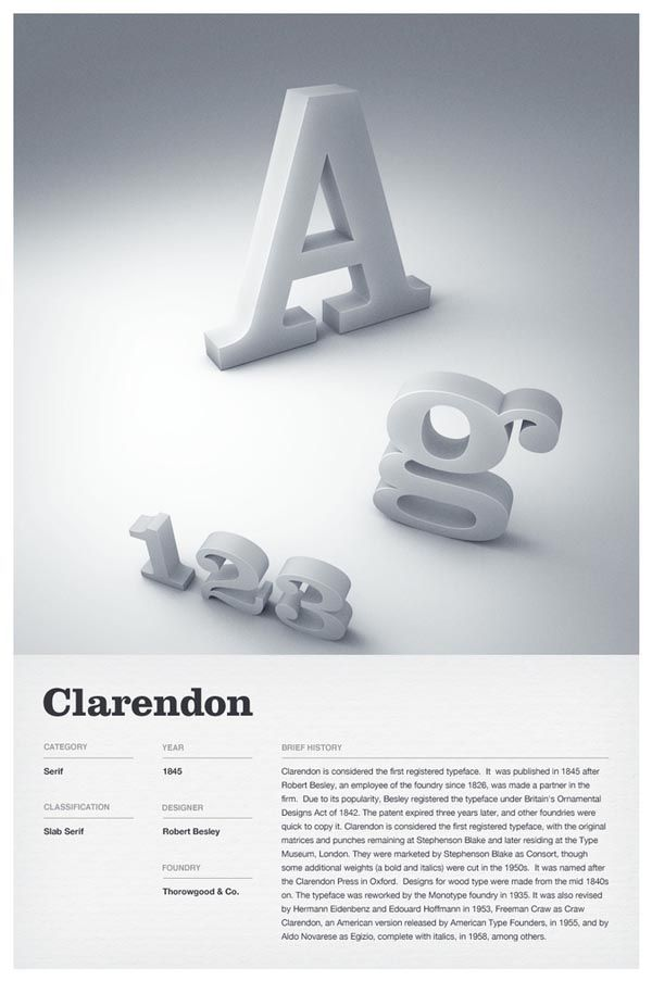 3D Typographic Poster Design.    Independent multidisciplinary design studio Woodhouse created these stunning type posters of 6 iconic fonts such as: Trade Gothic, Helvetica, Futura, DIN, Clarendon, and Bodoni. The typefaces are depicted as 3D letters while the description below is clean and simple. - #typography #type #clarendon