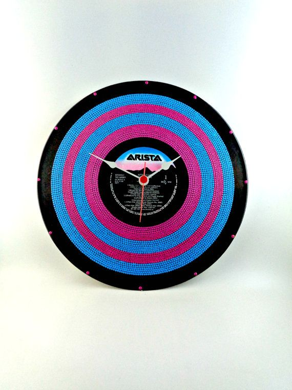 Pink&Blue Vinyl Clock Hand Painted Upcycled Vinyl by InsaneDotting