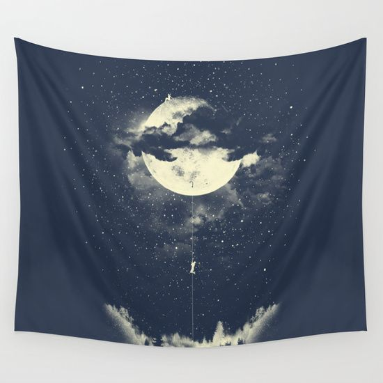 MOON CLIMBING Wall Tapestry by Los Tomatos - $39.00