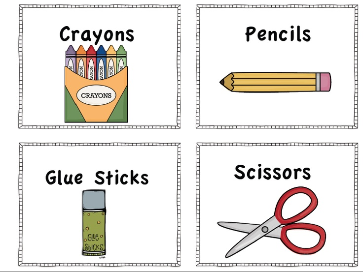 Freebie school supply labels to print Classroom