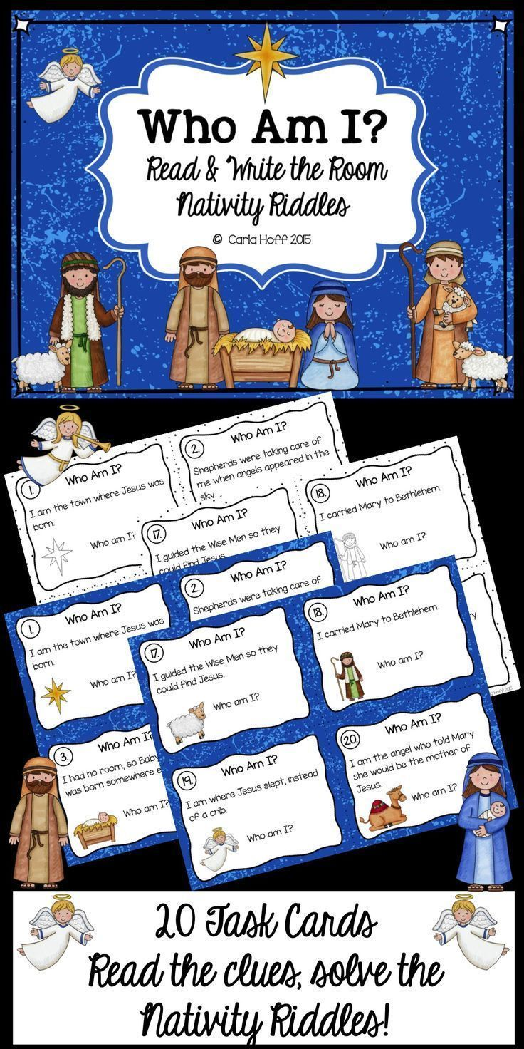 20 Nativity Riddles for your Sunday School, Christian School, or Home School Classroom!  Read the clues, solve the riddles!  Great for partners, Read & Write the Room, or Centers.  Easy prep!