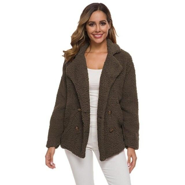 Winter Women Cotton Fluffy Long Sleeve Jacket Ladies Warm Outerwear Cardigan Coat Newest – K L China