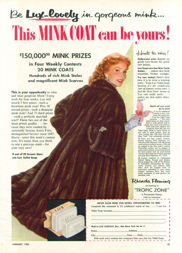 0 Rhonda Fleming for Lux Soap Mink Coat Contest ad 1953