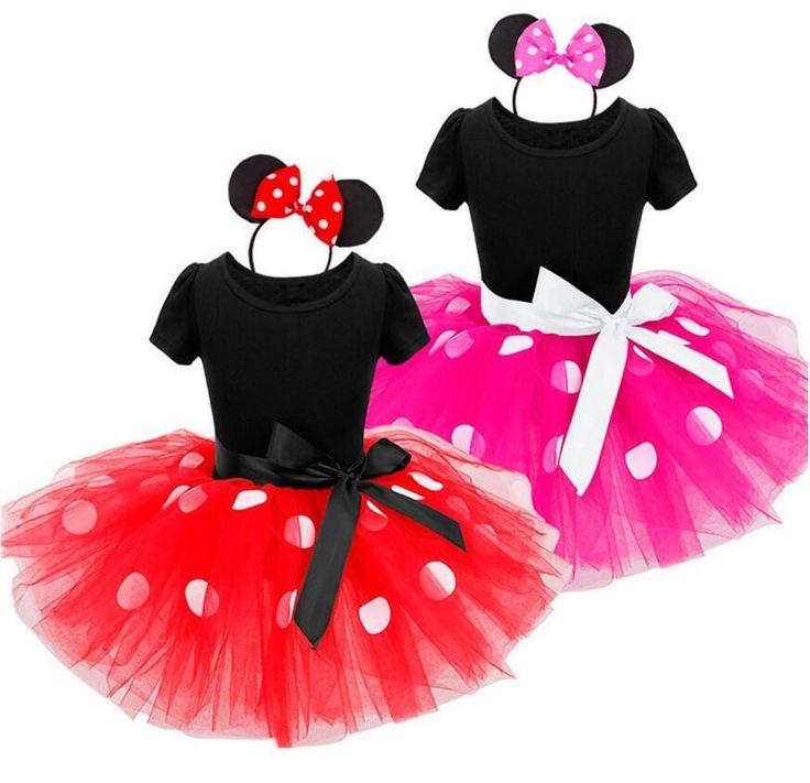 Minnie Party Dress Fancy Costume/ Girls Minnie Dress Headband Red/Pink  Polka Dot Tutu