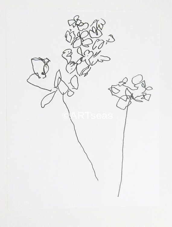 Abstract Flower Art Print Botanical Drawing Blume