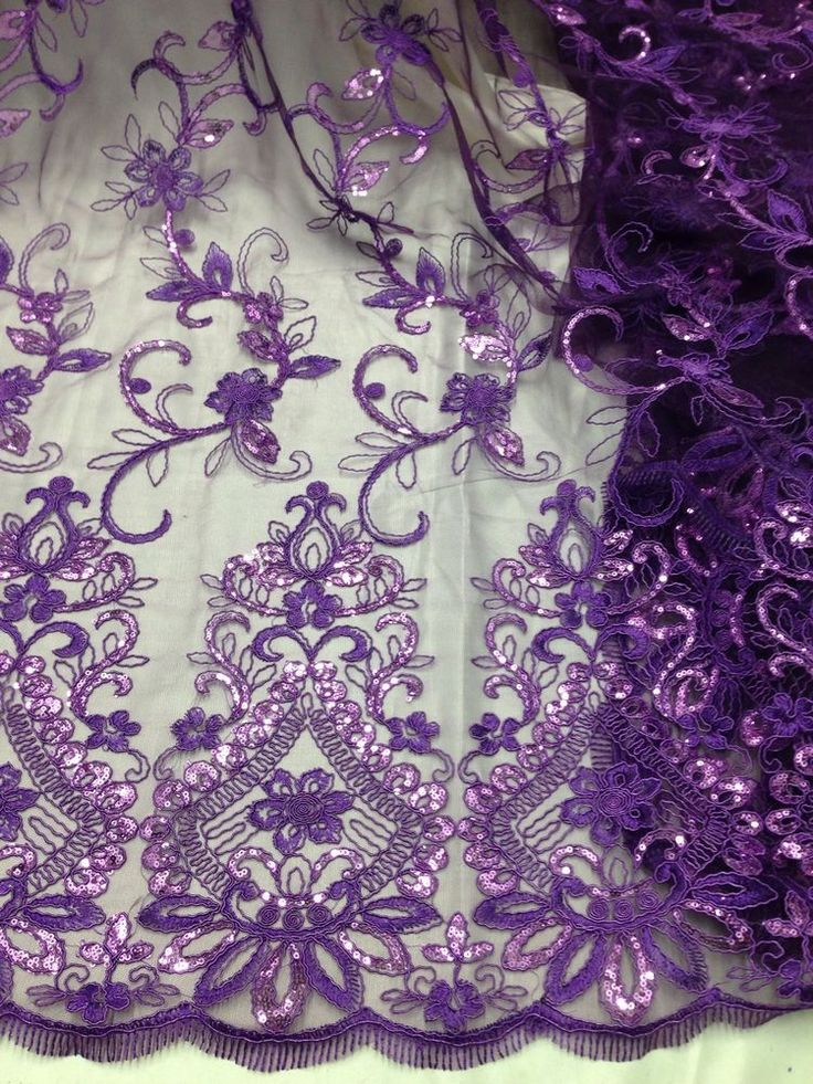 Purple mesh w corded embroidery sequins lace fabric