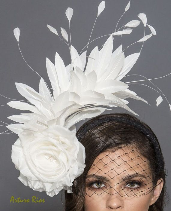 Black and white Kentucky Derby Fascinator Black and by ArturoRios