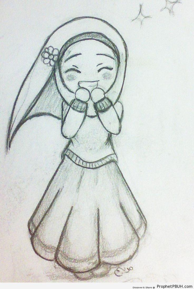 Happy Cute Hijabi Girl (Chibi Drawing) - Chibi Drawings (Cute Muslim Characters)