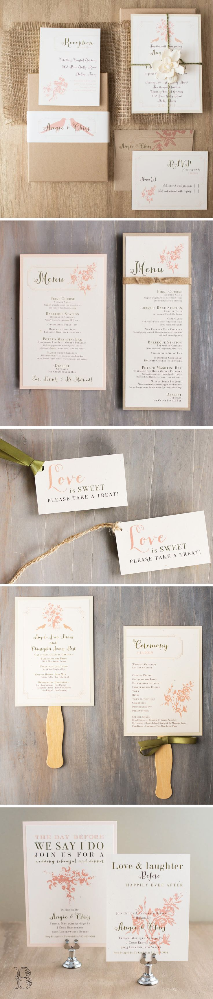 Rustic chic boxed wedding invites with taupe