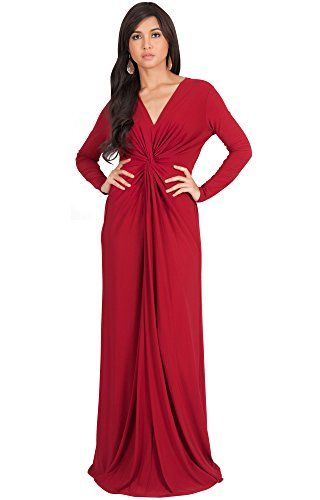 bec0acfecef3df KOH KOH Plus Size Womens Long Sleeve Sleeves V-Neck Flowy Cocktail Formal  Fall Winter Evening Abaya Muslim Gown Gowns Maxi Dress Dresses, Crimson Red  2X ...