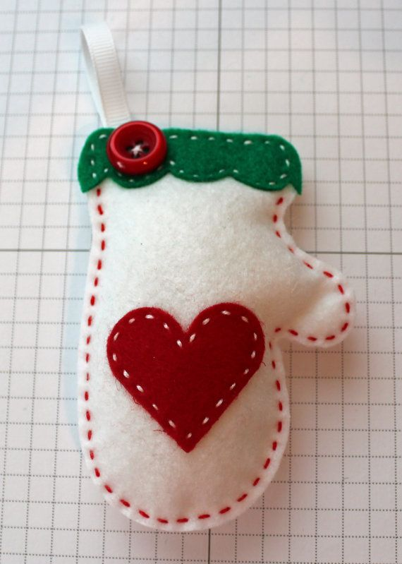 Cozy White Felt Mitten Ornament by StampandScrap on Etsy, $4.00
