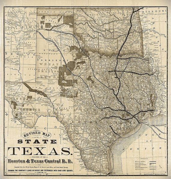 Old Map of Texas 1876 Vintage Historical Wall by VintageImageryX