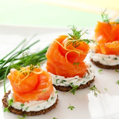 Smoked salmon canapés with cream cheese recipe | Canapé recipe ideas - Red Online