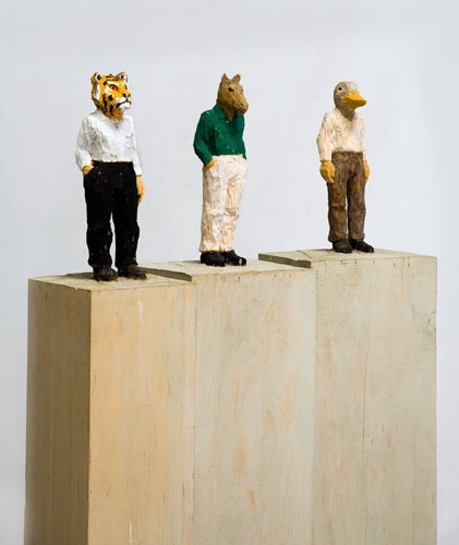STEPHAN BALKENHOL  Three figures, 1997  wawa wood, colored  3 parts, each 160 x 0 cm (63 x in.)