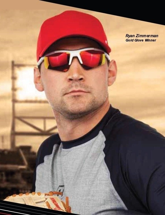 oakley sunglasses baseball players  ryan zimmerman, gold glove winner, in a pair of terrific mirrored sports sunglasses.