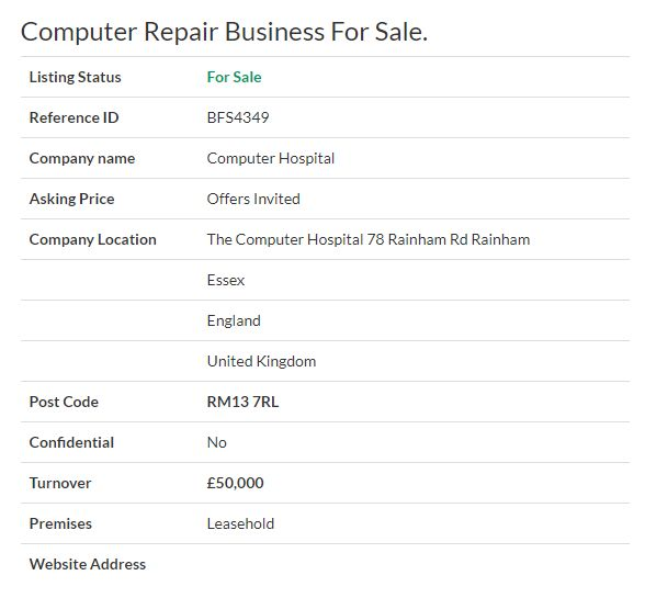 Businesses for sale - Computer Repair Business For Sale Ref. BFS4349 Location #Essex,#England,#UK   Asking Price Offers Invited #Ownersellers #FreeOnlineBusinessTransferAgent #OnlineBusinesstransferagent   #sellingyourbusinessonline #Freebusinessvaluationonline #businessesforsaleonline   #freeonlinebusinesstransferagency #ComputerRepair #ComputerHospital #ComputerMaintenance