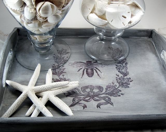 DIY tray. Beautiful. Buying TV trays..maybe this on them?