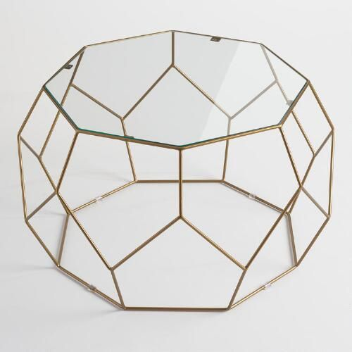 One of my favorite discoveries at WorldMarket.com: Faceted Metal Coffee Table with Glass Top