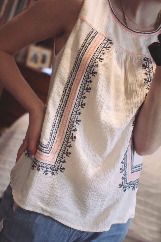 Stitch fix tallia embroidery detail tank under skies love