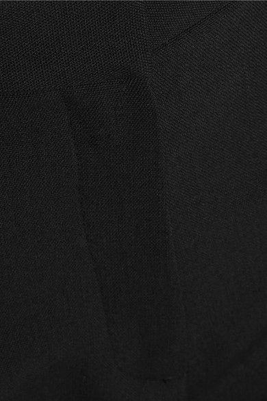 Pallas - Satin-trimmed Wool-crepe Tapered Pants - Black - FR40