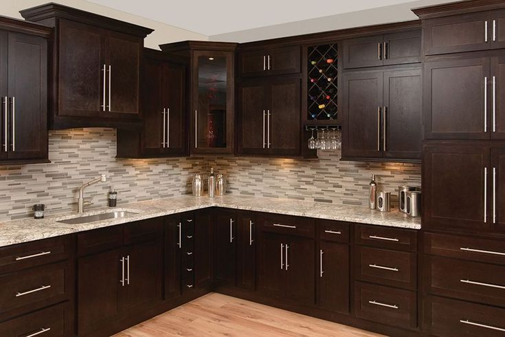 d i y kitchen cabinets faircrest espresso shaker kitchen cabinets home 14409