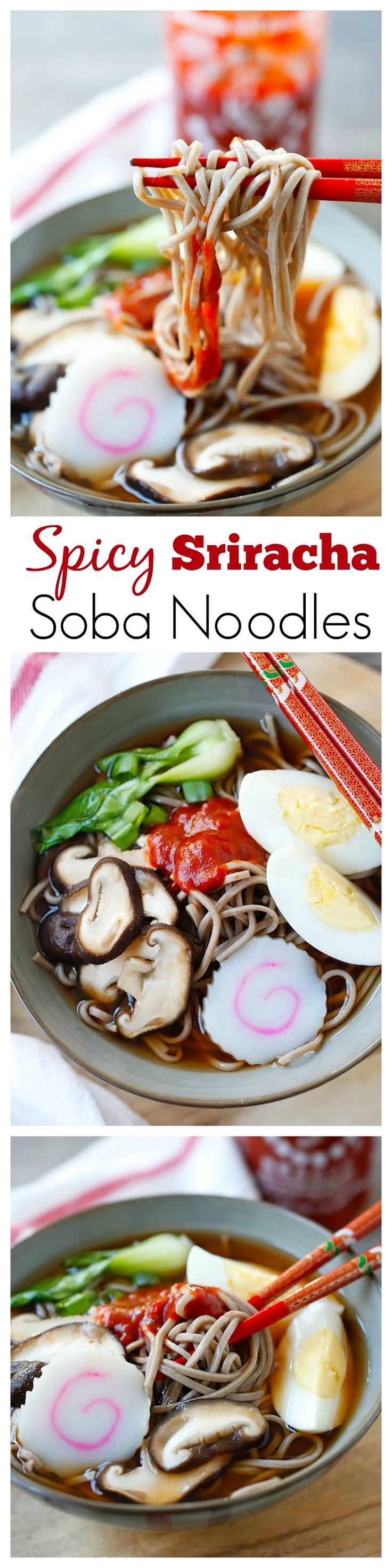 Spicy Sriracha Soba Noodle Soup – the easiest & most delicious noodle soup ever, with spicy Sriracha added to the broth and takes only 15 mins | rasamalaysia.com