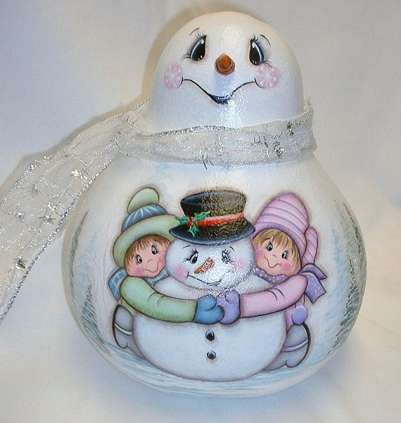 Snowman Gourd with Kids at Play  Hand Painted by FromGramsHouse