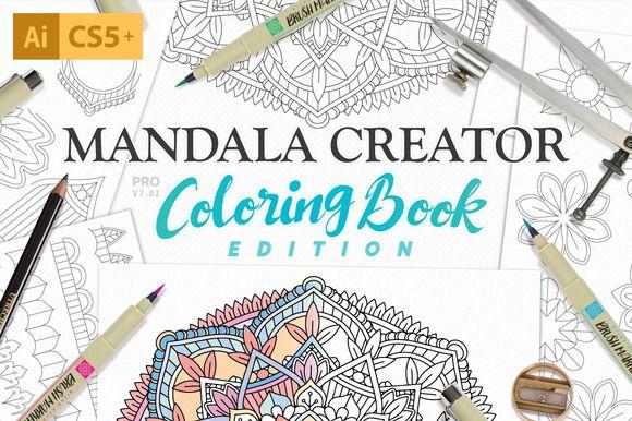 Coloring Book Mandala Creator by everdrifter on @creativemarket