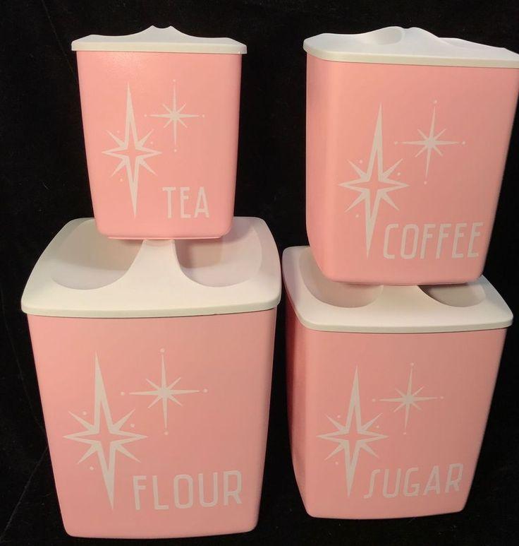 Vintage 50s 60s Mid Century Pink White Starburst Set 4 Nesting Canisters Kitchen