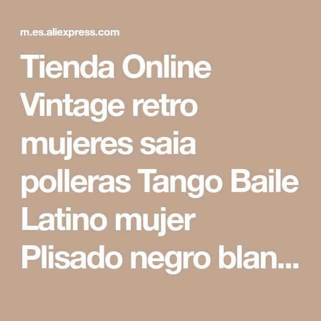 Tienda Online Vintage retro mujeres saia polleras Tango Baile Latino mujer Plisado negro blanco largo de la colmena asimétrica faldas largas de la falda de la señora | Aliexpress móvil