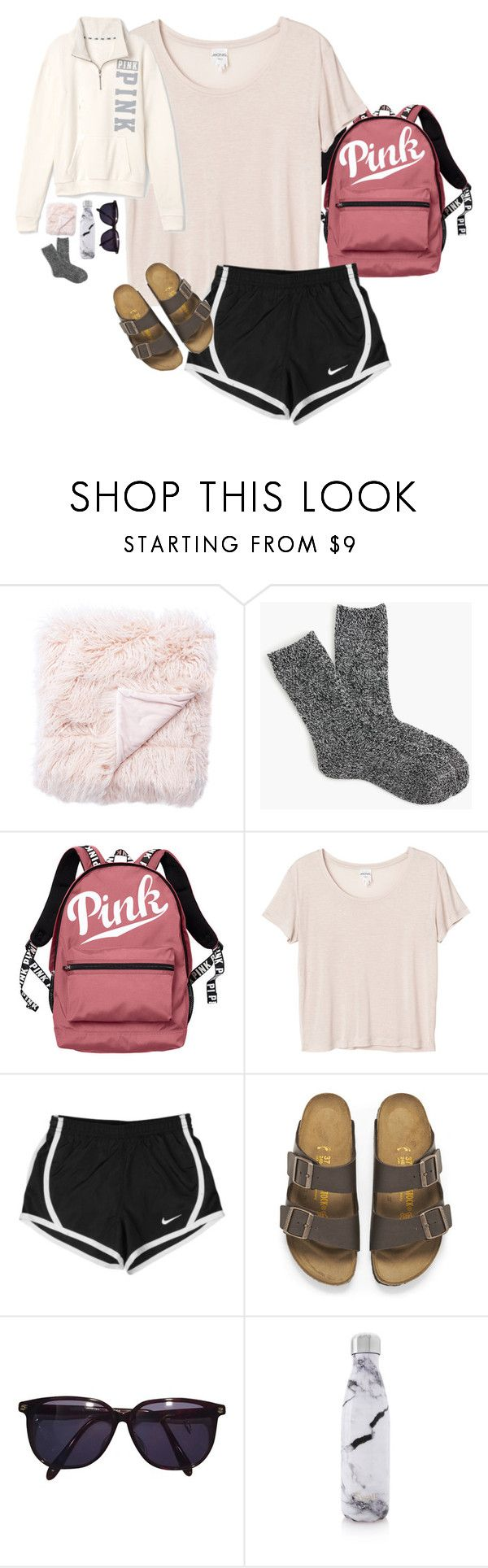 """pin: rileykleiin by me:) just saw this here!! """"day seven: ride home"""" by rileykleiin ❤ liked on Polyvore featuring Jaipur, J.Crew, Victoria's Secret, Monki, NIKE, Birkenstock, Sonia Rykiel, S'well, Victoria's Secret PINK and mmadsssummervacay2017"""